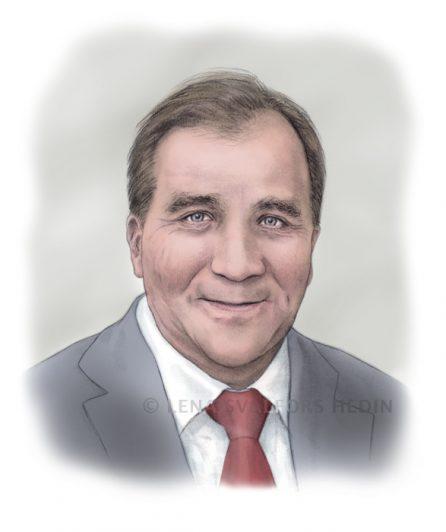 Tecknat porträtt av Stefan Löfven 2014