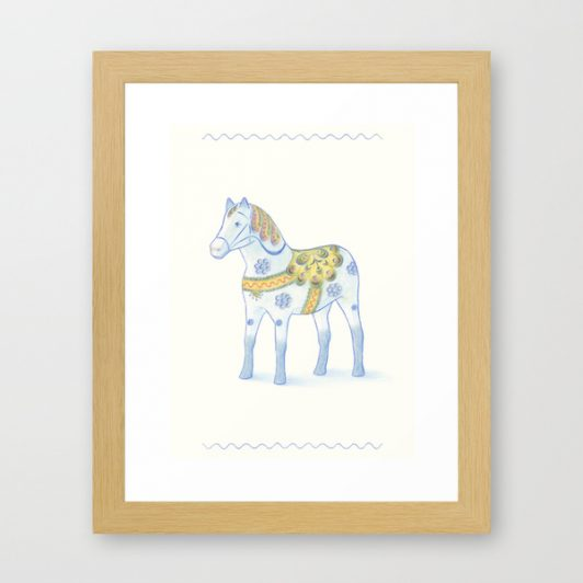 memories of a wooden horse art print drawing dalahäst