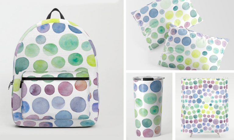 Pattern with lots of dots in bright colours