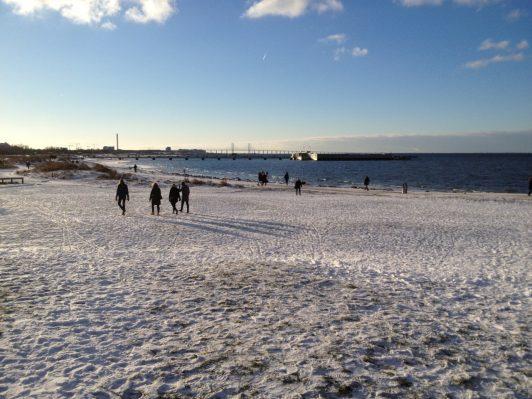 ribersborg strand vinter snö