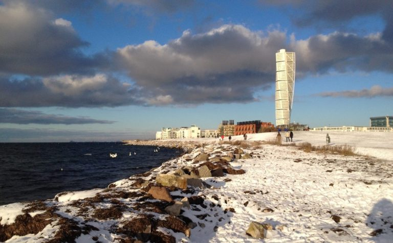 Snow sunshine and Turning Torso in Malmö