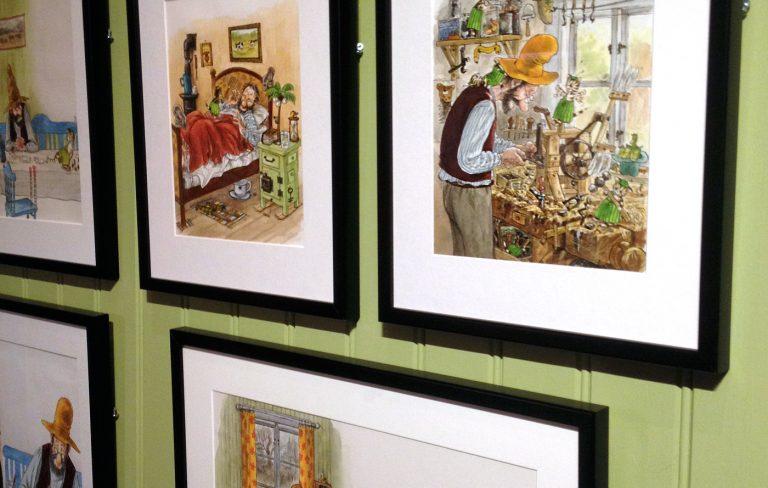 Sven Nordqvist teckningar på Dunkers utställning