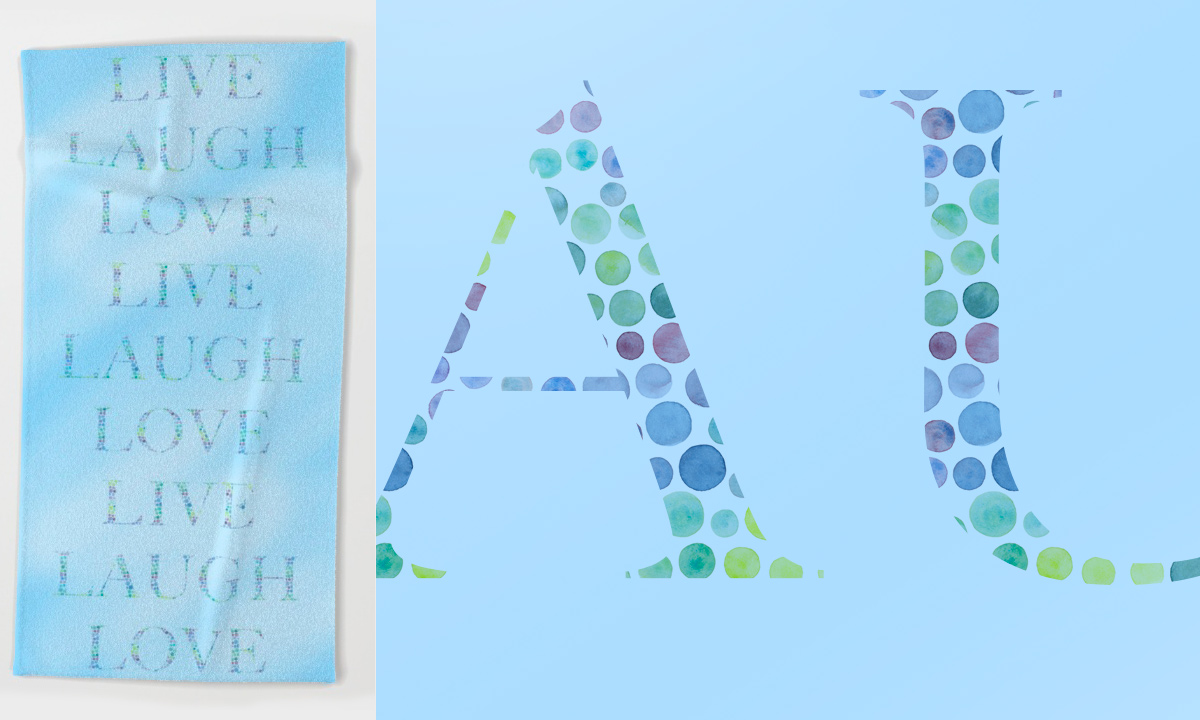 Blue beach towel with dotted text print