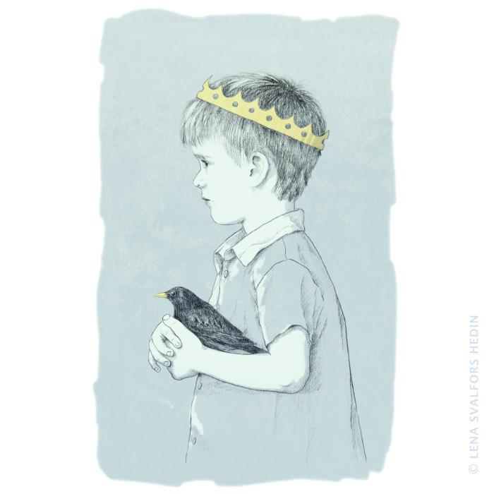 Sagans prins med koltrast teckning i blyerts färgton och textur i Photoshop