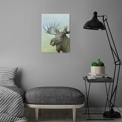 Metal poster art print by Displate with my drawing of a european moose, or elk