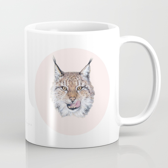 Pencil drawing of an Eurasian lynx with tongue on pink background, mug with art print by Society6