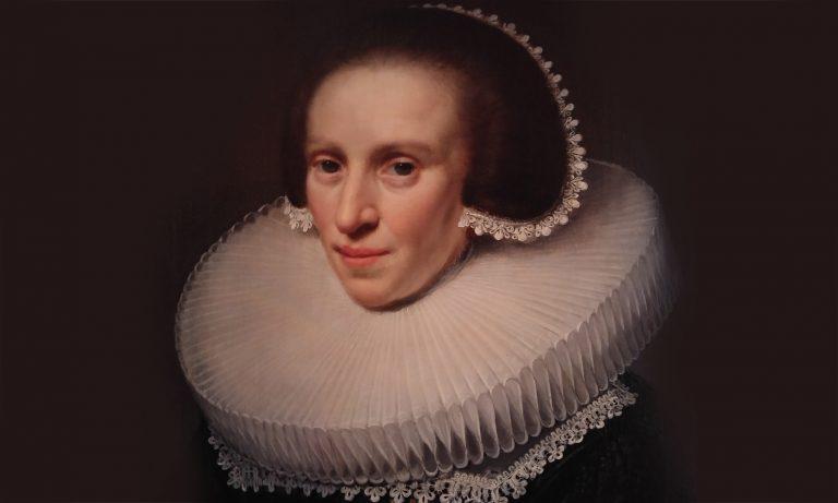 Tavla med enorm krage på damen Montfoort