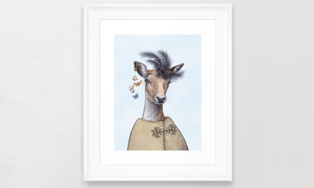 Framed digital art print of red deer with feather hat and earring with butterflies