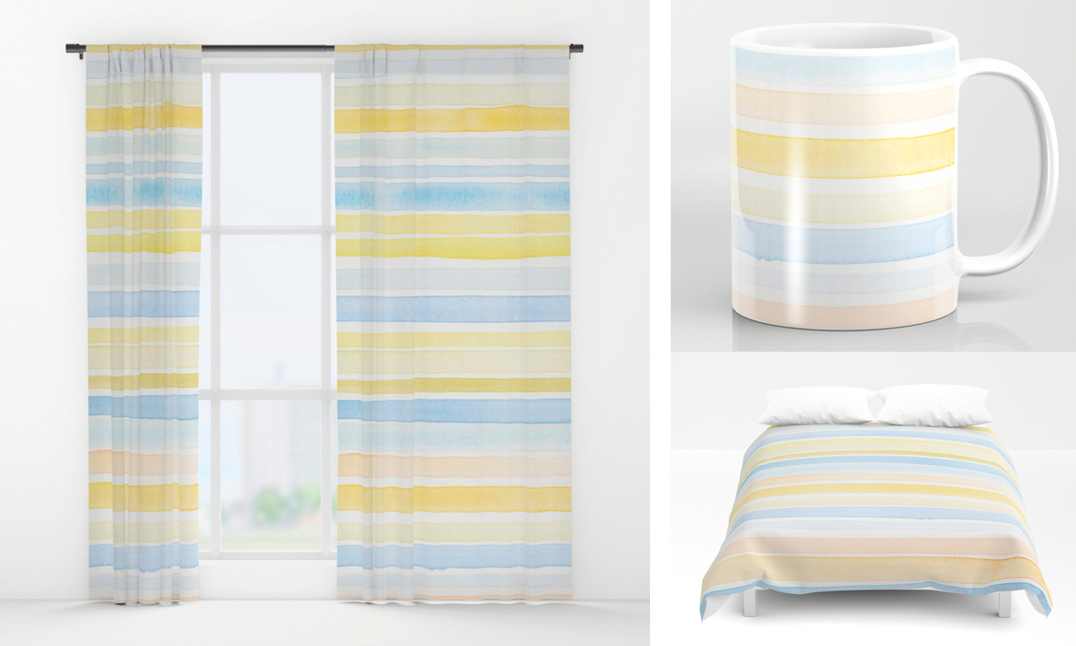 Hand painted stripes in blue and yellow on window curtains, duvet cover, mugs and much more