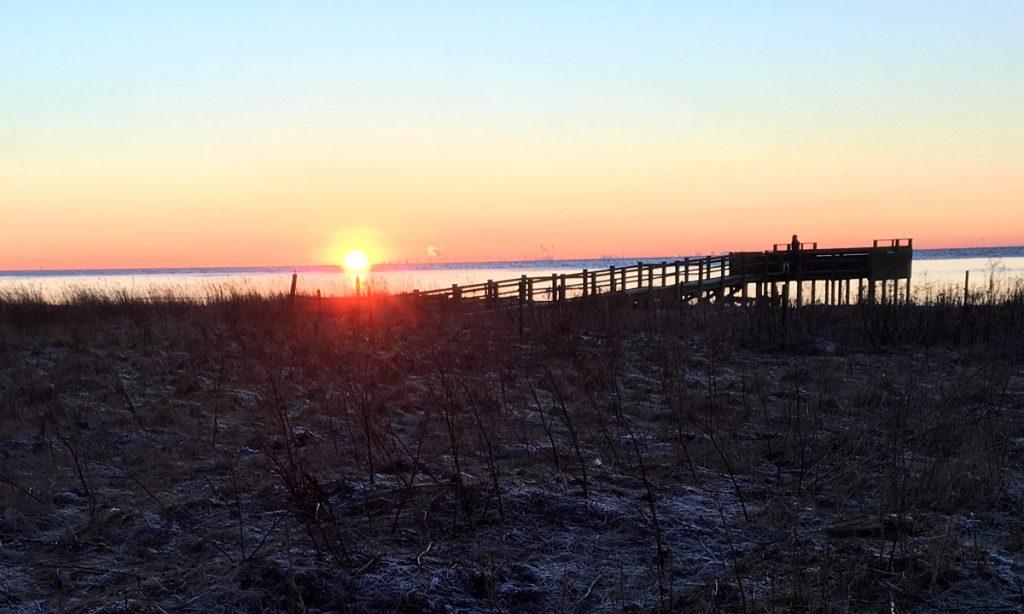 Solnedgång från skånska kusten mot Danmark