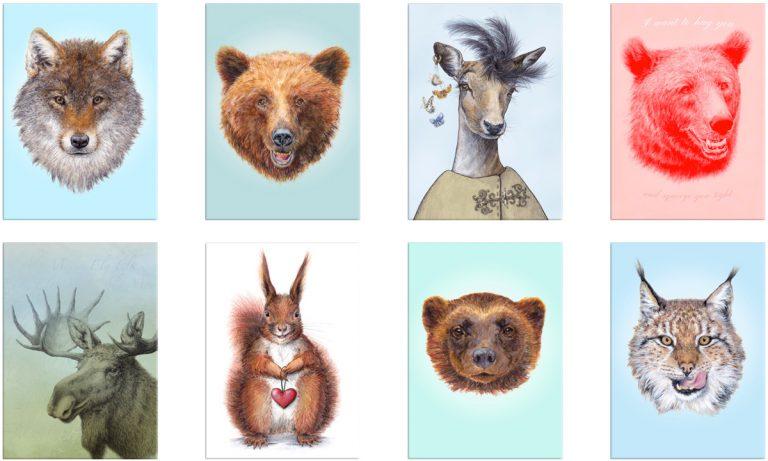 Displate metal art poster nordic animal drawings