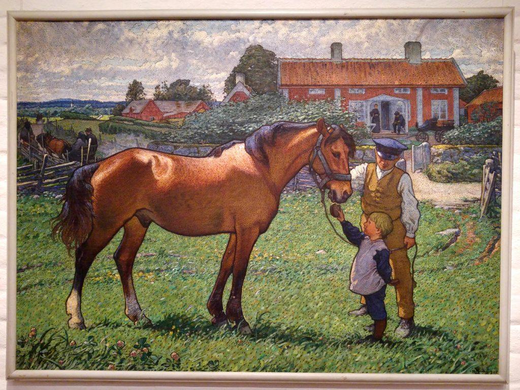 Nils Kreuger 1909 Hästen Brunte skolplansch