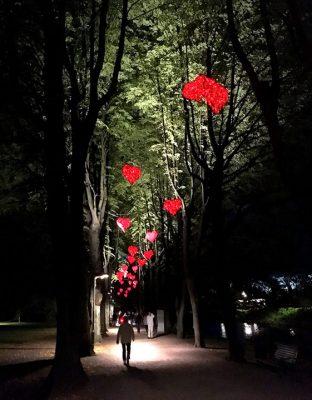 Röda hjärtan lyser upp allén i Kungsparken Malmö