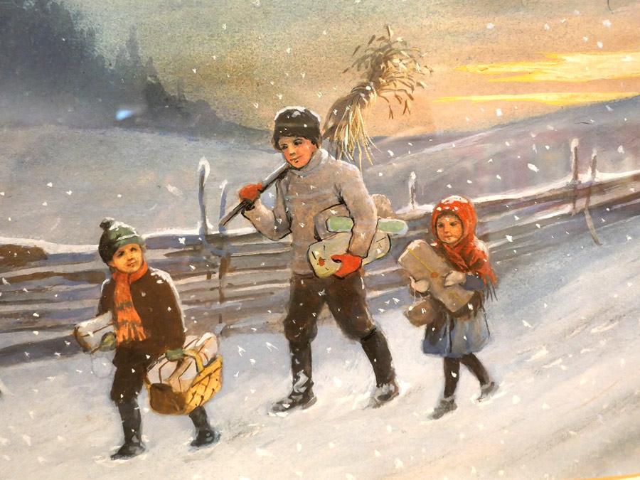 Barn på vinterpromenad med julklappar och julkärve, akvarell av Jenny Nyström, detalj