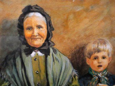 Illustration av Jenny Nyström, detlaj med gammal kvinna och pojke i kyrkbänken