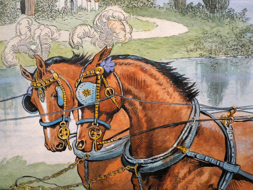 Hästar spända för vagn, detalj från akvarell av illustratören Jenny Nyström