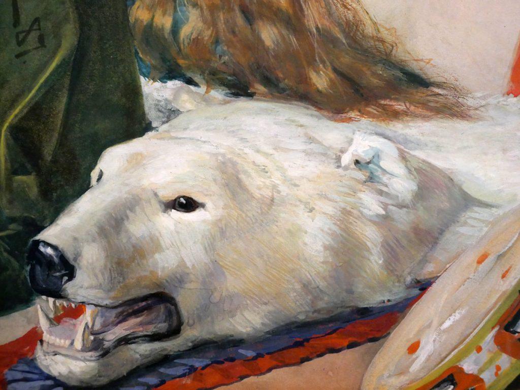 Isbjörnsfäll, detalj från interiör målad av Jenny Nyström