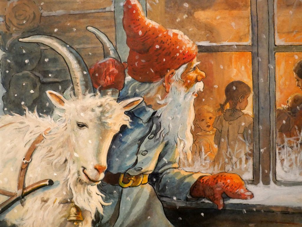 Tomte och getabock kikar in på julfirandet i stugan, Jenny Nyström, detalj