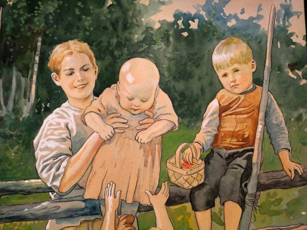 Barn på gärdsgård, detalj från akvarell av Jenny Nyström