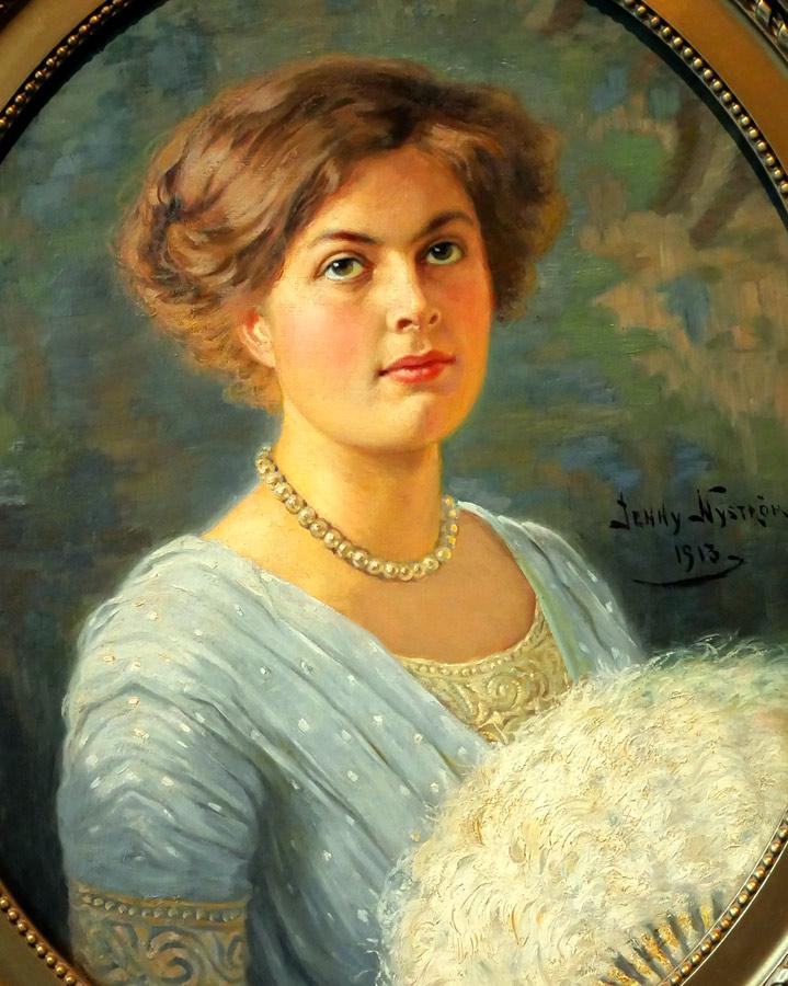 Porträtt målat av Jenny Nyström, detalj