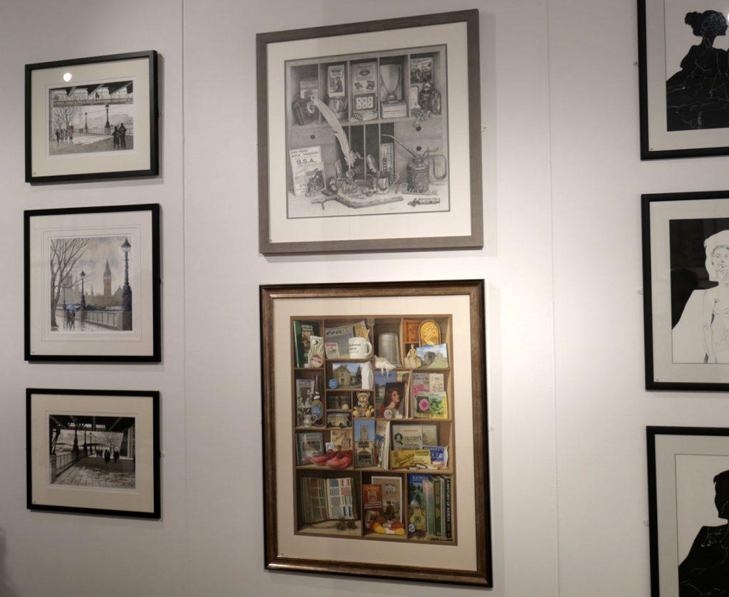 Några tavlor från utställningen med teckningar på Bankside Gallery 2019
