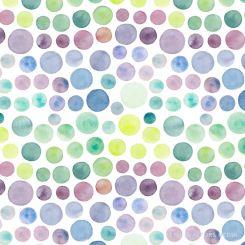 Watercolour dots purple green tiled pattern