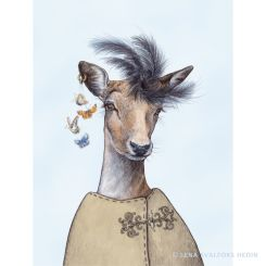Pencil animal drawing of a fashionable deer with butterfly decoration blue background