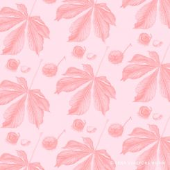 Horse chestnut leaf and conkers tiled pattern pink