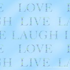 Typographic tiled pattern love laugh live with watercolour dots