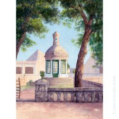 Water colour painting of small chapel at Menorca